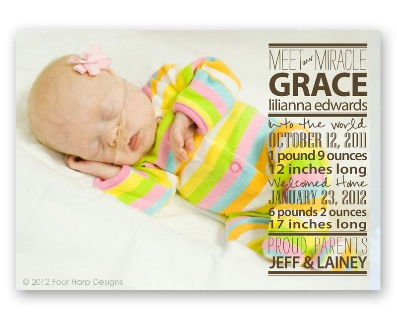 PreemieBirthAnnouncementWelcomeHomebyFourHarpDesignsonEtsy – Preemie Birth Announcements