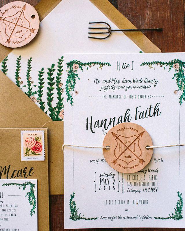 Rustic Watercolor Garden Wedding Invitations   Garden weddings ...