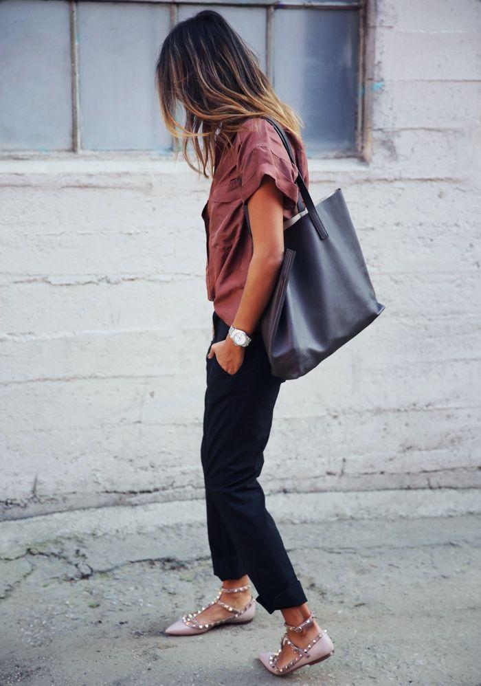 braun rote jacke mode style