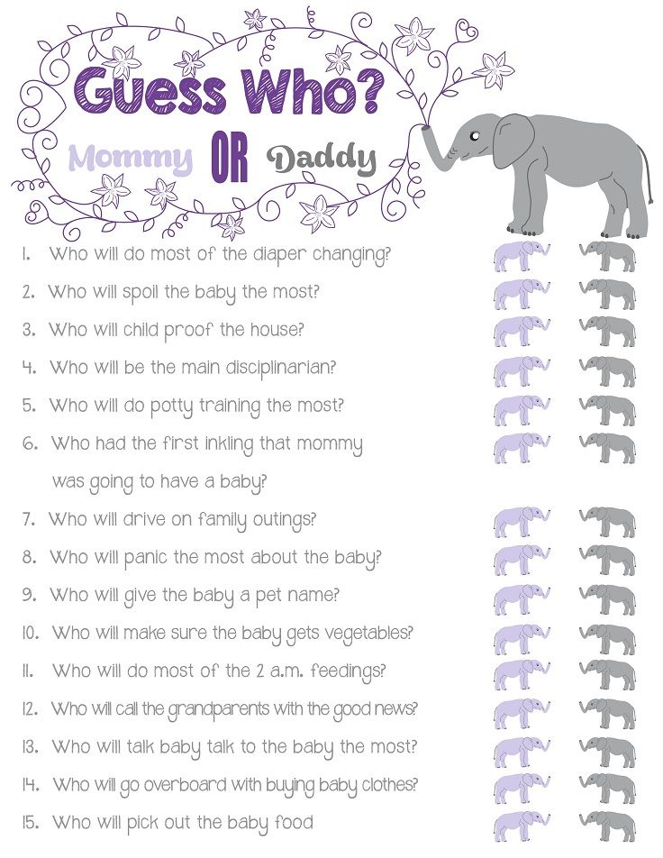"""Baby Shower Questions : shower, questions, Printable, Shower, """"Guess, Who?"""", Personalized, Questions, Questions,, Disney, Shower,"""