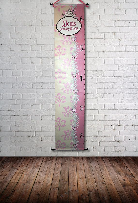Canvas Custom Growth Chart Butterflies by SweetDreamMurals on Etsy