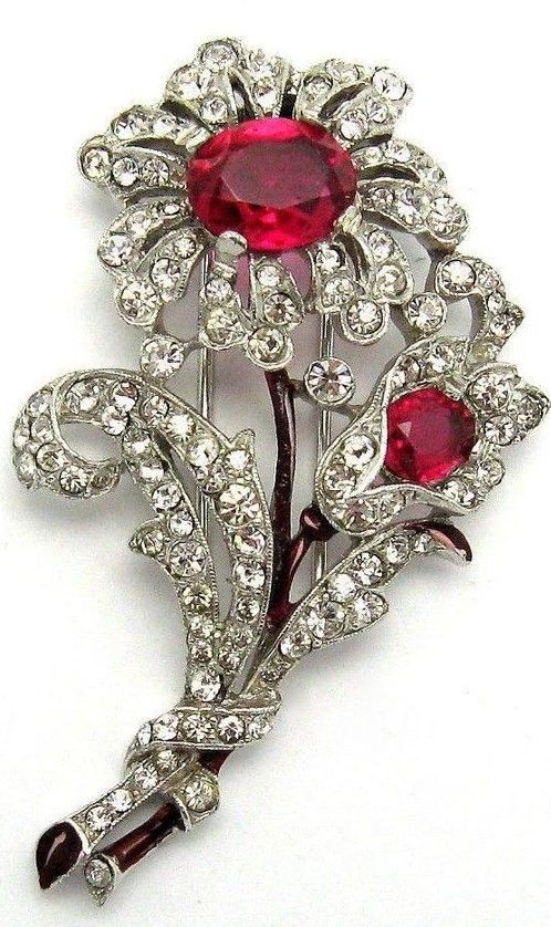 1930/'s Art Deco Crown brooch Royal Cocktail Ruby Sapphire Paste Brooch