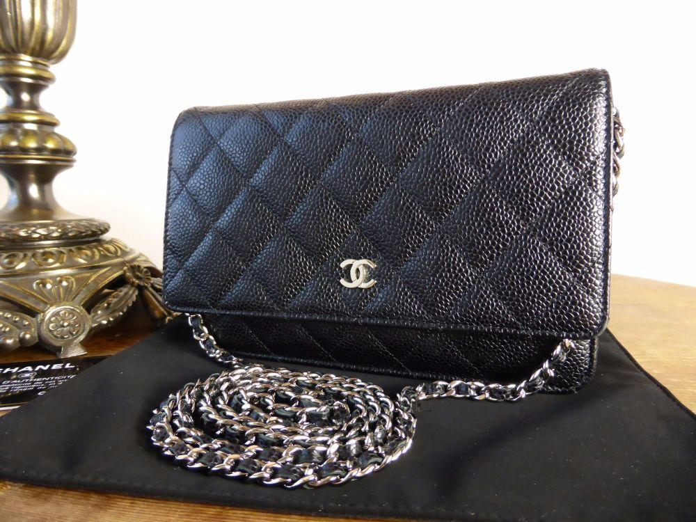 1f4d34519145 Chanel WOC Wallet on Chain in Black Caviar with Silver Hardware > https:/