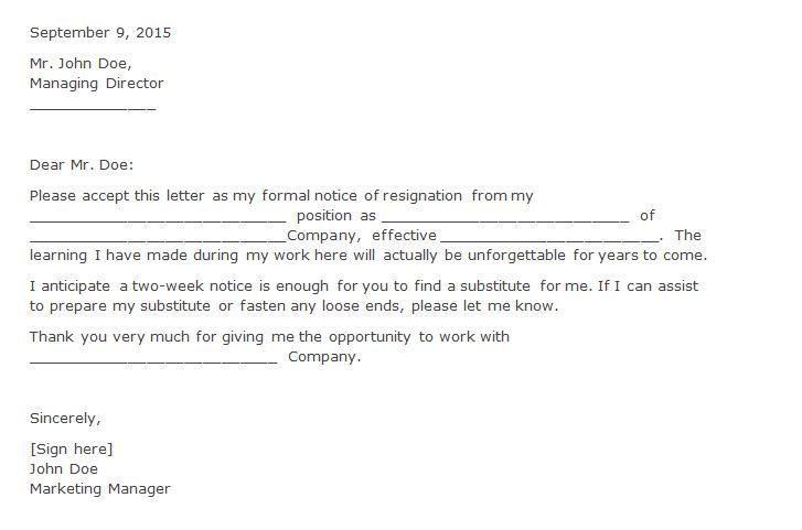 Two Weeks Notice   Two Week Notice    Resignation Letter
