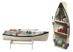 Nautical Dory Rowboat Bookshelves & Coffee Tables- Nautical & Beach Furniture at Guaranteed Best Prices with FREE Shipping!