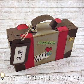 Anleitung Koffer aus Papier für Geldgeschenk. Großer Koffer XL. Stampin Up Verpackung #konzertkartenverpacken