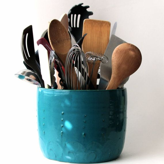 Turquiose U0026 Teal Kitchen Accents | Large Kitchen Utensil Holder   Dark Teal  Turquoise   Hand Thrown Vase .