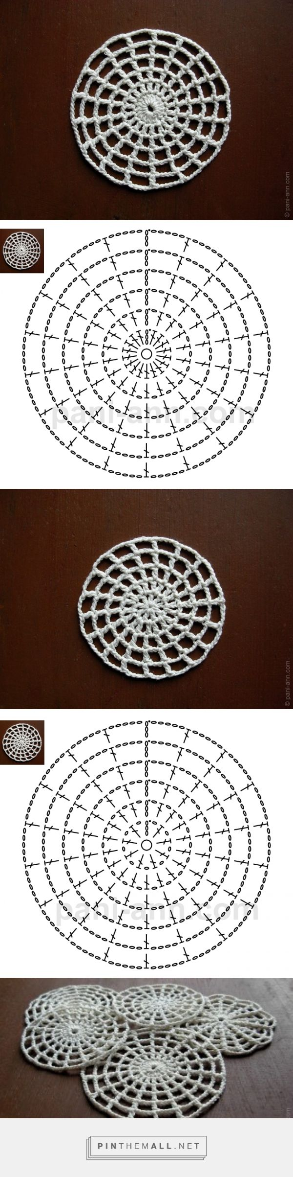 filet crochet in the round - solid centre and filet (ie with spacing ...