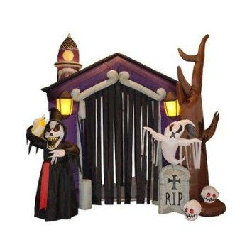 85 Foot Halloween Inflatable Haunted House Castle with Skeleton - halloween decorations haunted house