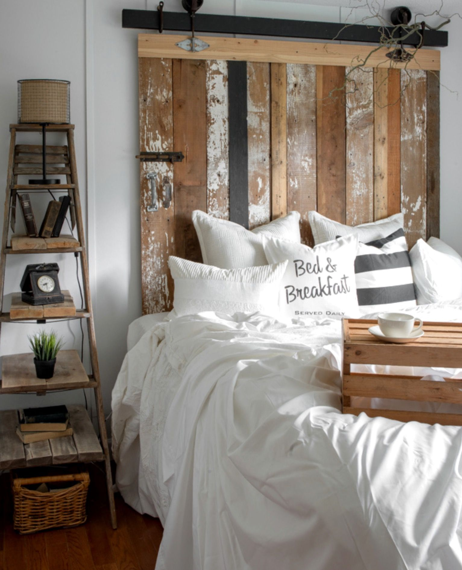 A Cheater Reclaimed Wood Barn Door Headboard With Faux Hardware Bed Breakfast Diy Pillow Made Funky Junk S Old Sign Stencils