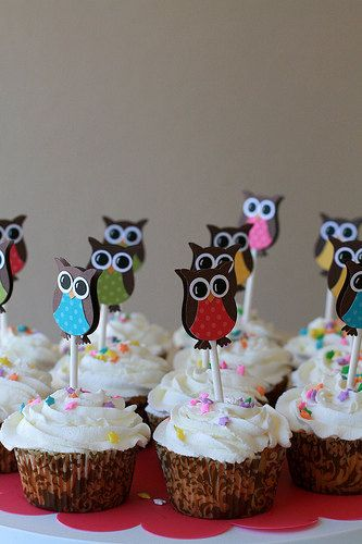 Owl Cupcake Toppers- Owl Birthday Party Decorations - Owl Party Decorations ..set of 12. $11.50, via Etsy.
