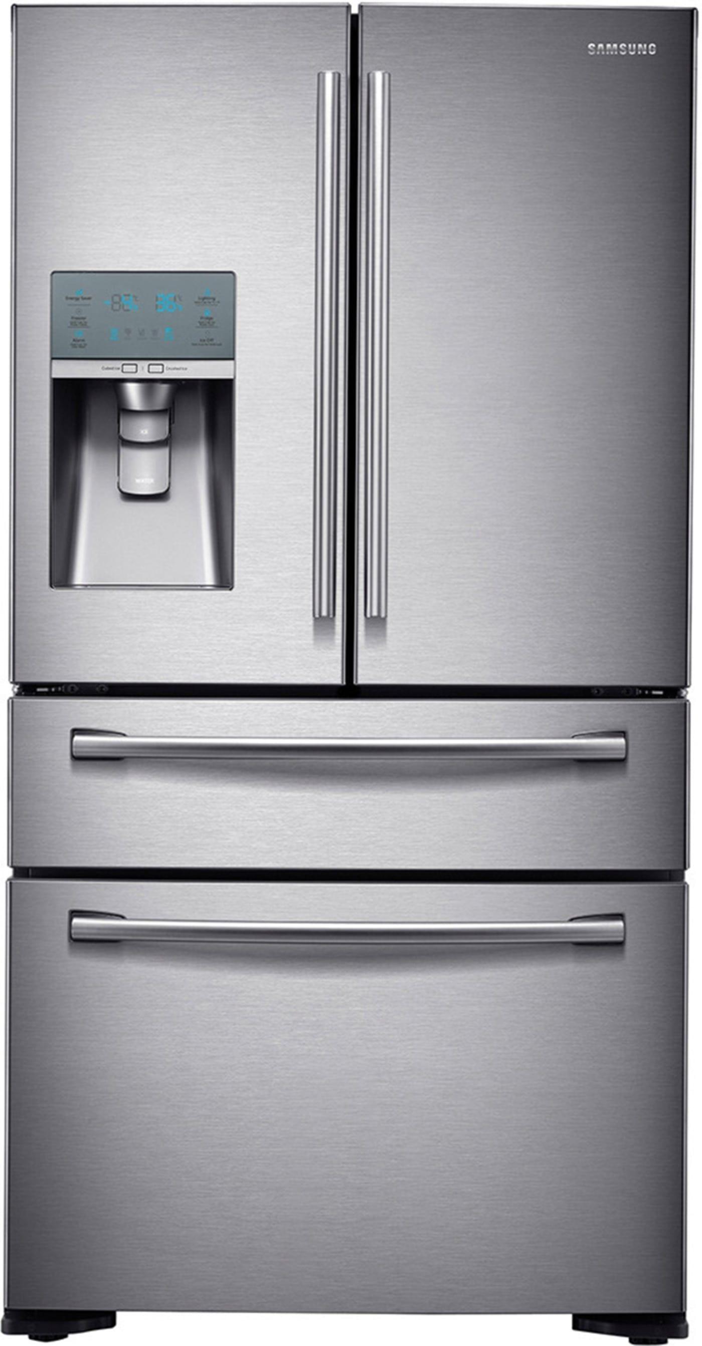 Rf24fsedbsr By Samsung French Door Refrigerators Goedekers Com French Door Refrigerator Stainless Steel French Door Refrigerator Samsung Fridge