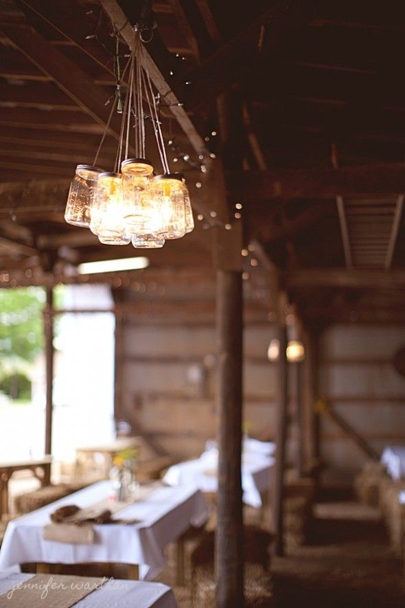 Rustic/Country Wedding Idea ~ Several mason jars strung together - looooove