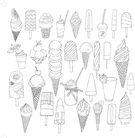 {Printable} Coloriages Ice Cream | Раскраски, Рисунки для ...