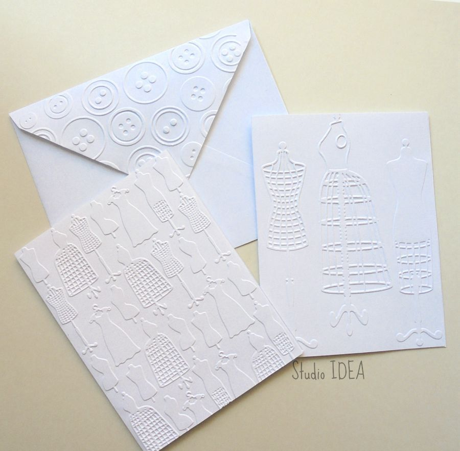 Dress Form Embossed Cards- 2 Styles - Set of 4 white A2 embossed cards or Choose Your Colors by StudioIdea on Etsy