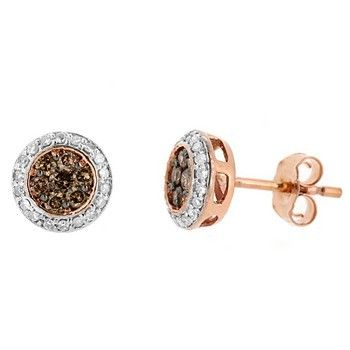0 49ct Fancy Brown Diamond Stud Earrings 14k Pink Rose Gold Fancy Brown Diamond Stud Earrings Diamond Earrings Studs