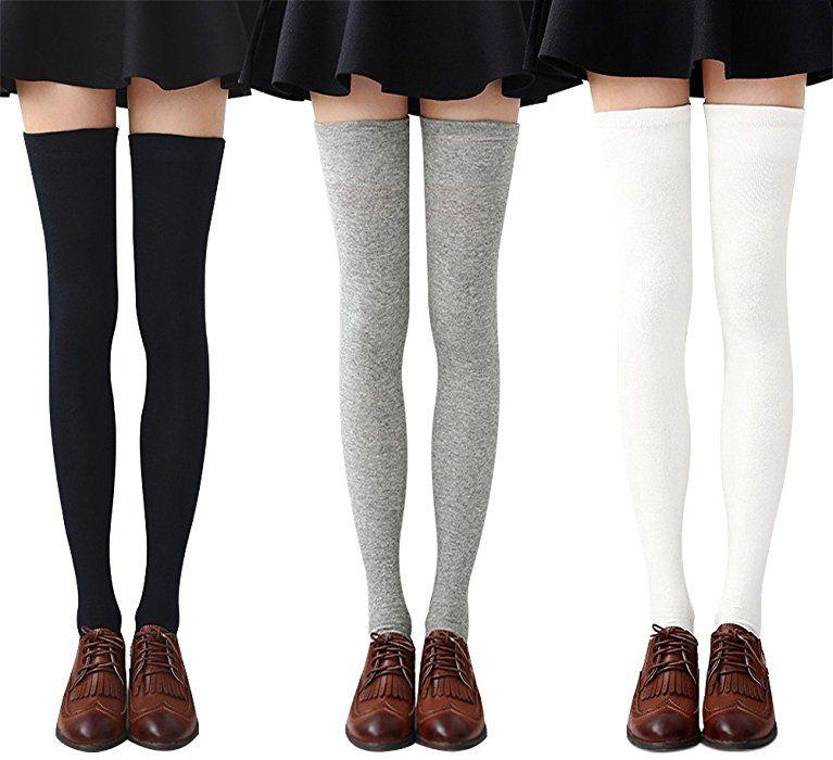 0653d29c302b2 Amazon.com: Chalier 3 Pairs Womens Long Socks Over Knee Stockings ...