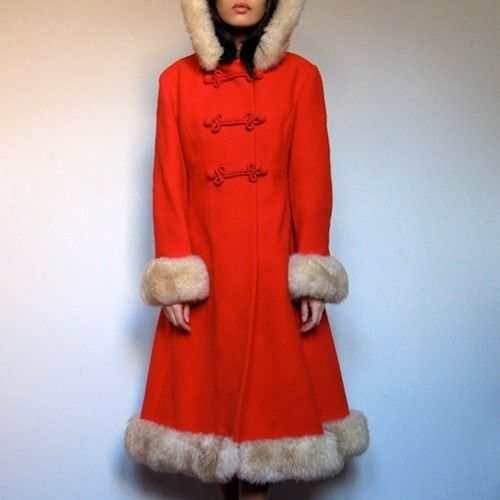 Vintage red Russian Princess Dress Coat wool Fur by MidnightFlight ...