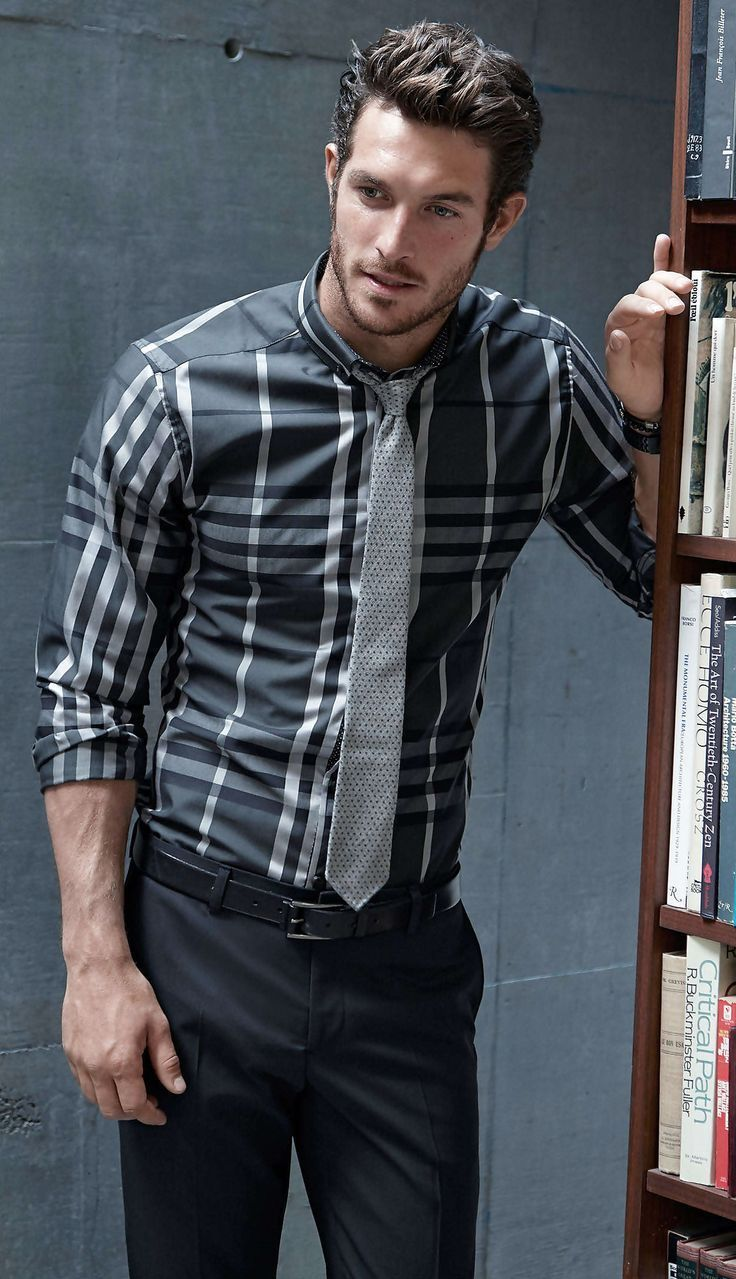 Men's Charcoal Plaid Long Sleeve Shirt, Black Dress Pants, Grey ...