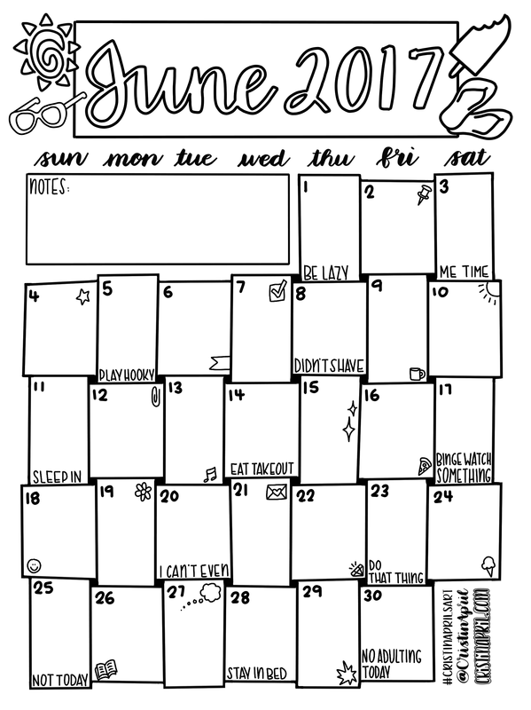 June 2017 Monthly Planner Page Coloring Calendar And Planner Pages