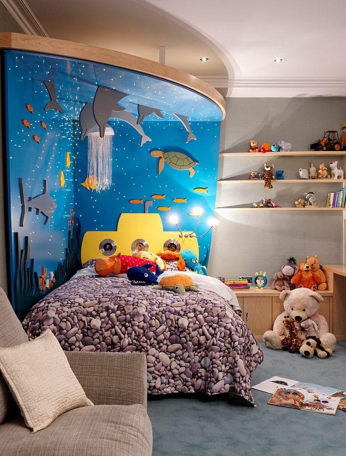 Gestaltung Kinderzimmer Gestalten Wandgestaltung Schreibtisch  Kleiderschrank Teppich Aquarium