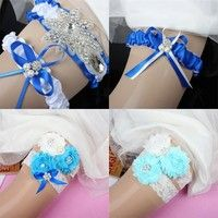Wish | Vintage Wedding Garter Bridal Garter Pearl Knot Rhinestone Garter Set Blue Ribbon Handmade