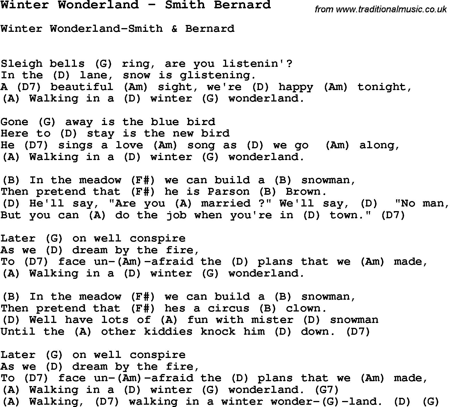 song winter wonderland by smith bernard with lyrics for vocal performance and accompaniment chords for ukulele guitar banjo etc
