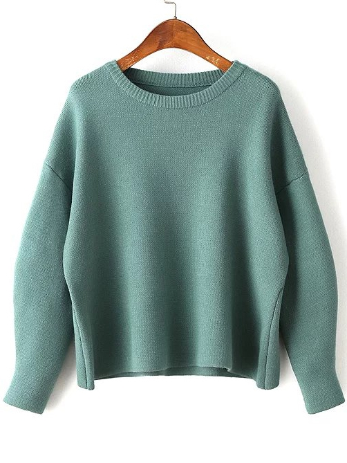 26$  Watch here - http://dixs8.justgood.pw/go.php?t=6483 - Green Round Neck Ribbed Trim Drop Shoulder Knitwear 26$