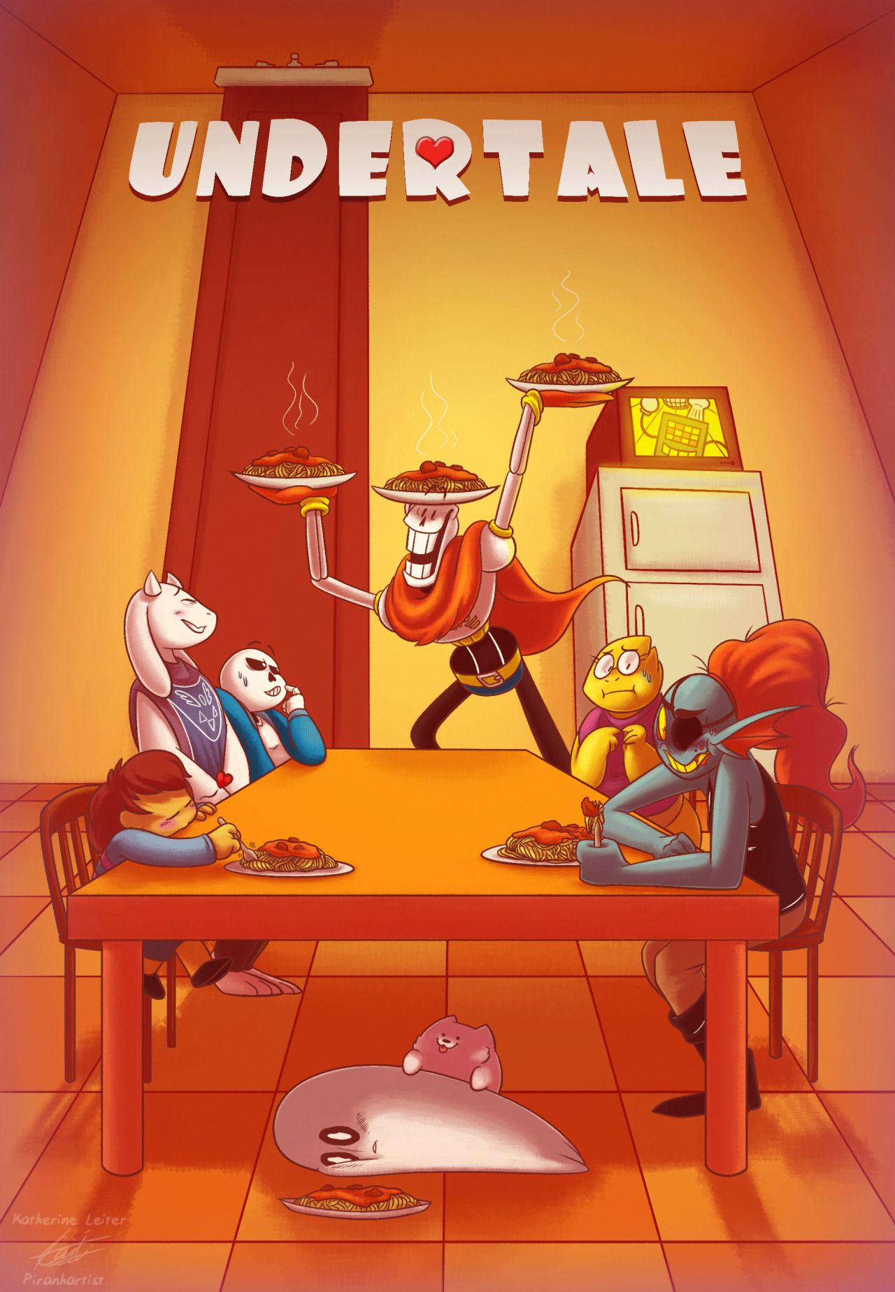 piranharting:    Your amazingly cool friend Papyrus made you and your dearest companions a passionately prepared spaghetti dinnerit fills you with determination.sans' arm is just over the back of his chair btw but you can interpret the composition as ya please : P