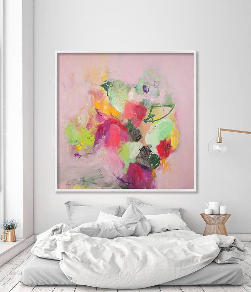 Abstract Floral Painting Large Wall Art Print from Canvas Painting Pink and Green chic feminine art & Abstract Floral Painting Large Wall Art Print from Canvas Painting ...