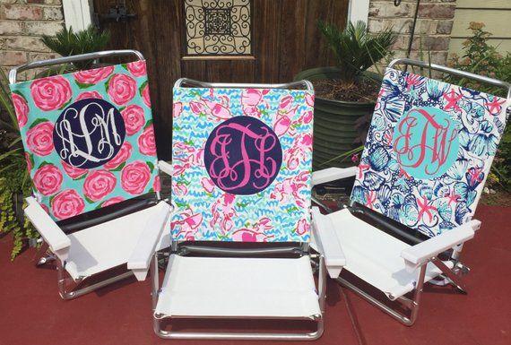 Hand Painted Lilly Pulitzer Inspired Monogram Beach Chair Beach