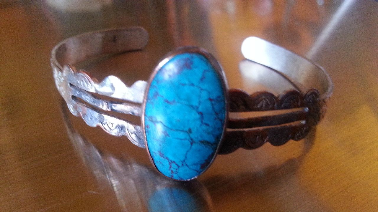 VINTAGE HUGE TURQUOISE Matrix Cabochon Mexican Sterling Silver Gypsy Boho Cuff Bracelet by BadTigerDesigns on Etsy