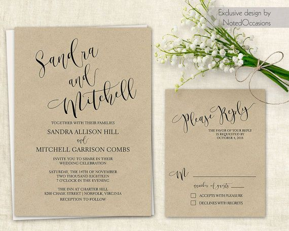 Printable Script Wedding Invitation Calligraphy Modern Minimal Kraft Diy Chic Digital Template