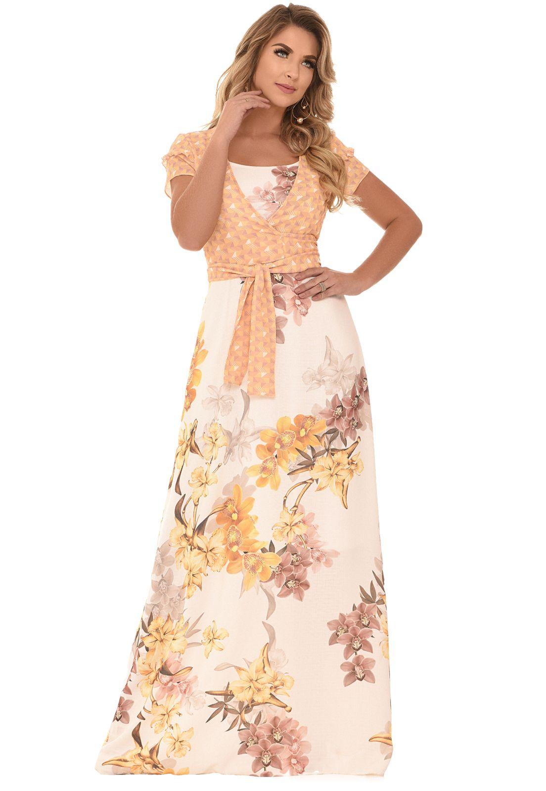 vestido longo com cinto estampado evangelico comportado