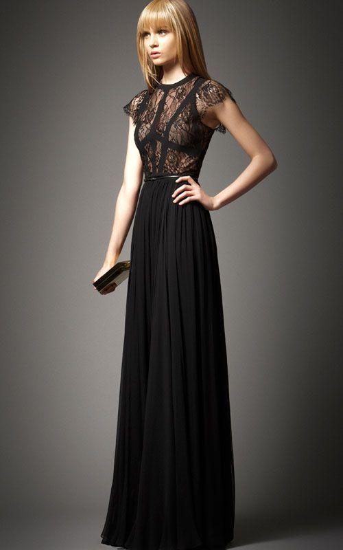 Elie Saab Terra Short Sleeves Black Prom Dresses by Bcbg [Bcbg Black ...