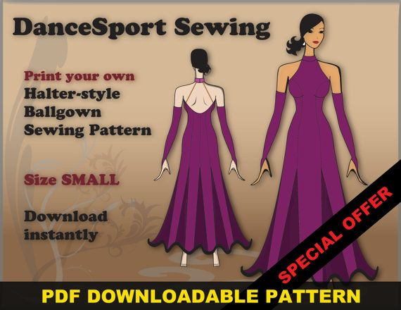 Halter Style Ballroom and Latin Gown Sewing Pattern, PDF ...