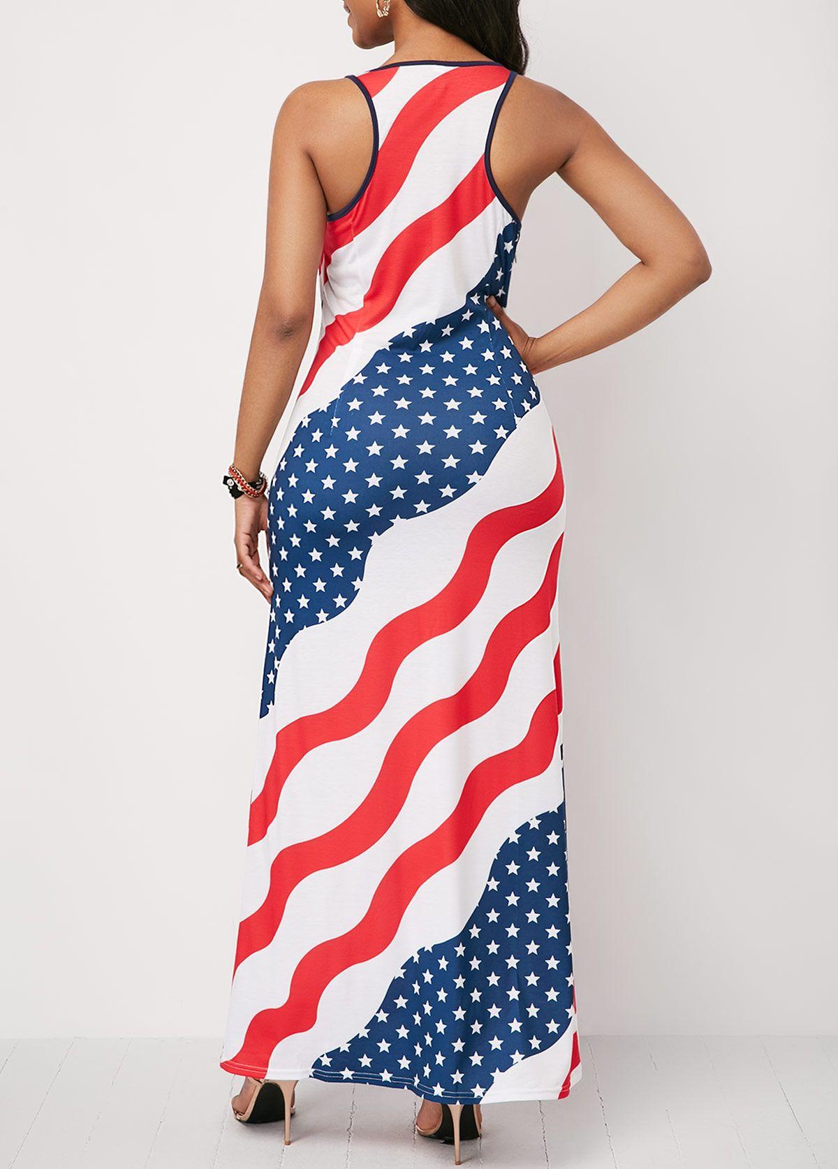 e77af084435e Round Neck Star Print Sleeveless Maxi Dress   Rosewe.com - USD $34.45