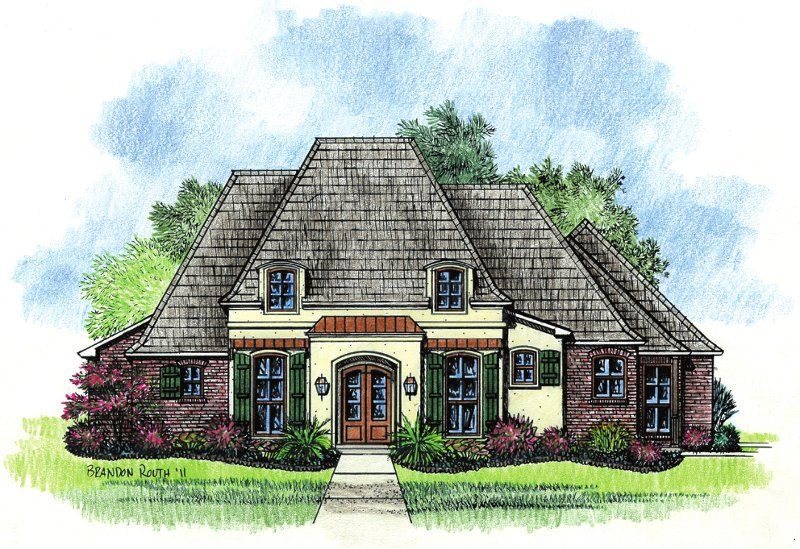 Adele country french home plans louisiana house plans for Country french house plans louisiana