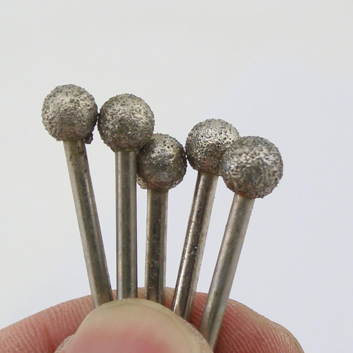 5Pcs Diamond Coated 6mm 1//4 inch Spherical Head Mounted Points Grinding Bit Ball