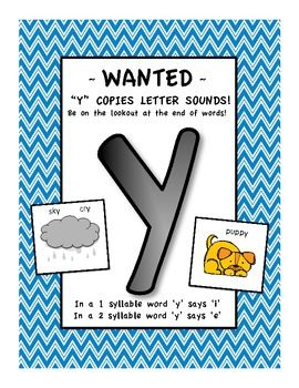 Letter Y sounds like i or e POSTER   FREEBIE | long and short
