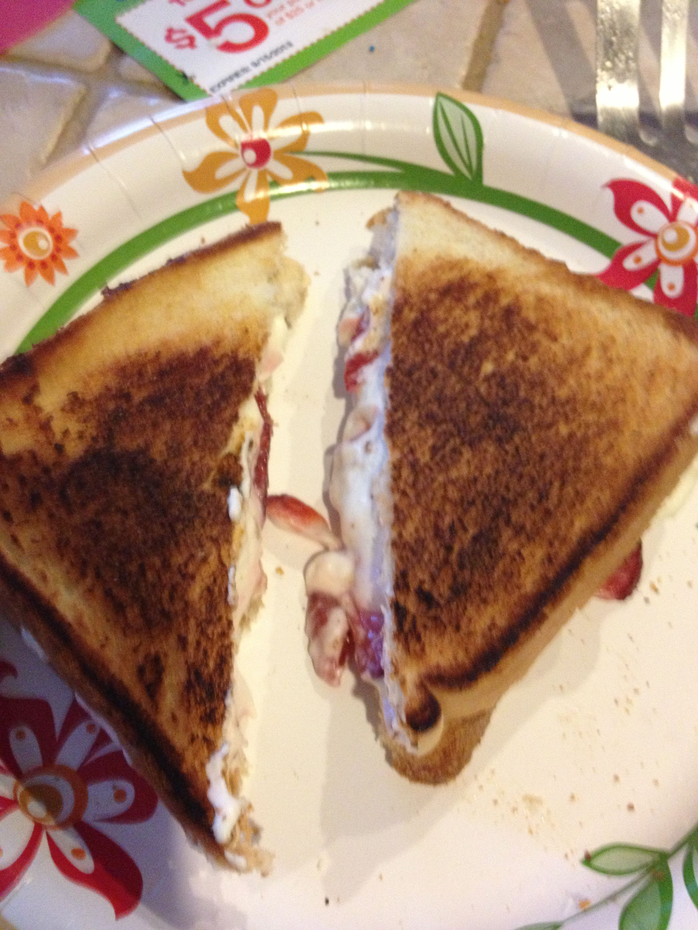 Strawberry and creamcheese grilled cheese  Yummiest !