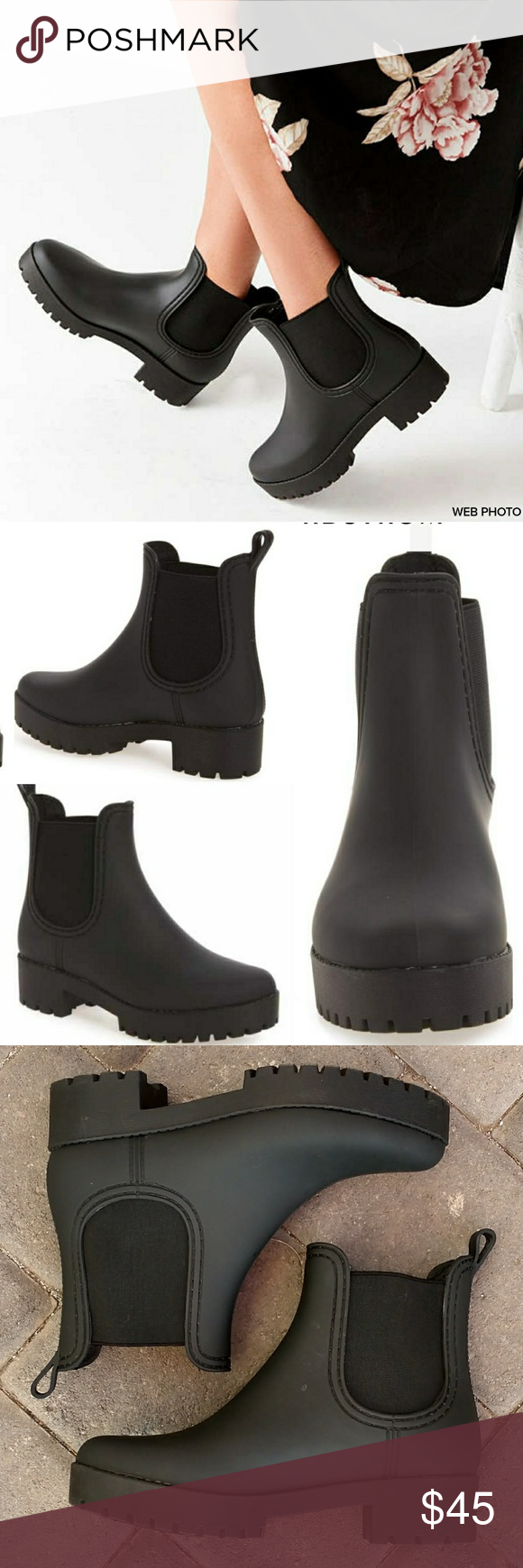22bc4c996a4 JEFFREY CAMPBELL Cloudy Rain Boot A Chelsea rain boot cut from is lifted by  a platform and lugged sole so you can take on wet weather …