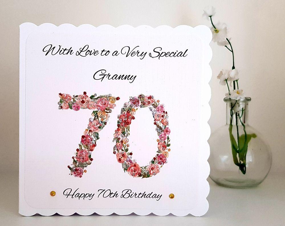 70th Birthday Card PERSONALISED & HANDMADE 80th 90th 100th