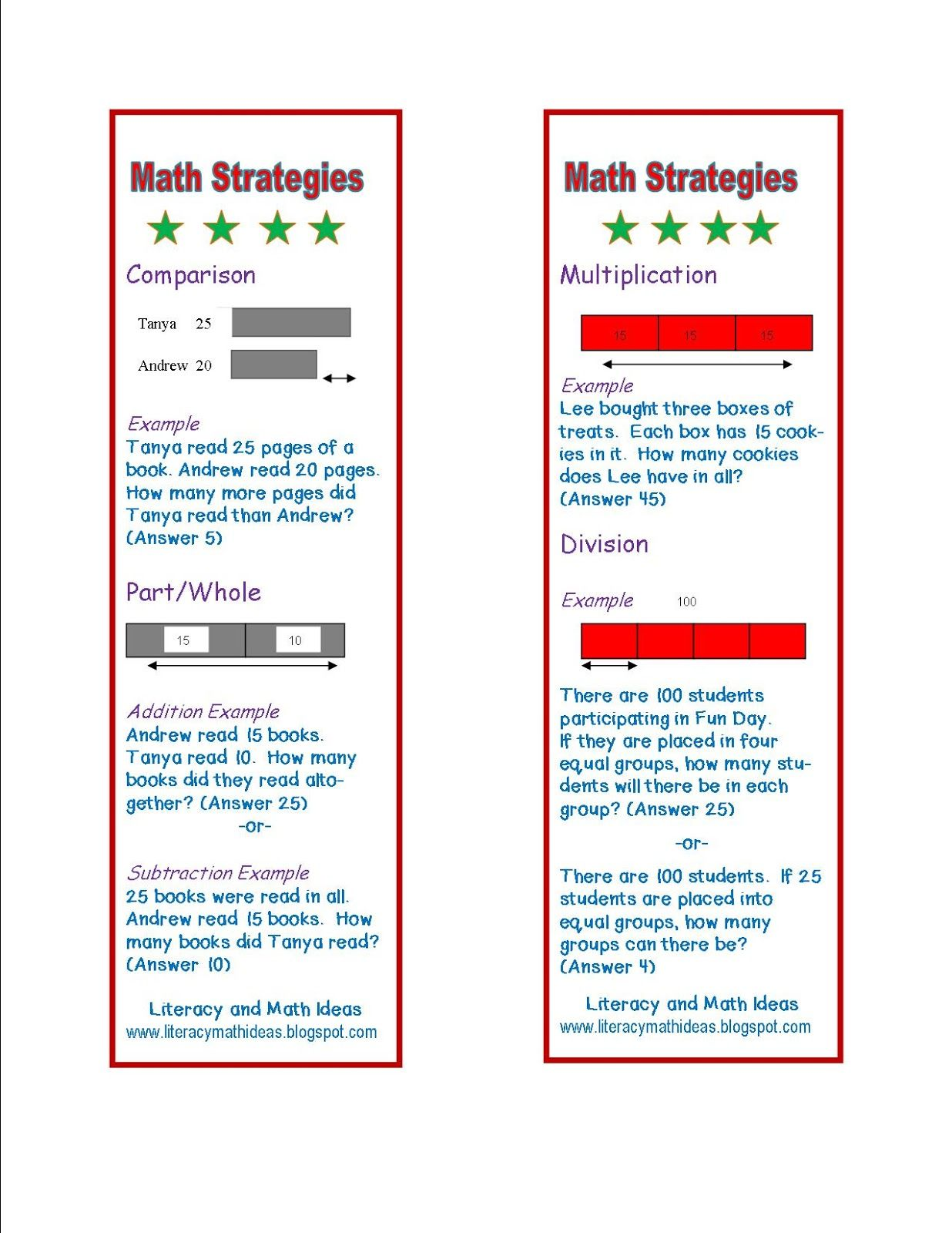 Simply Centers: Free Math Word Problem Strategy Bookmarks | Math ...