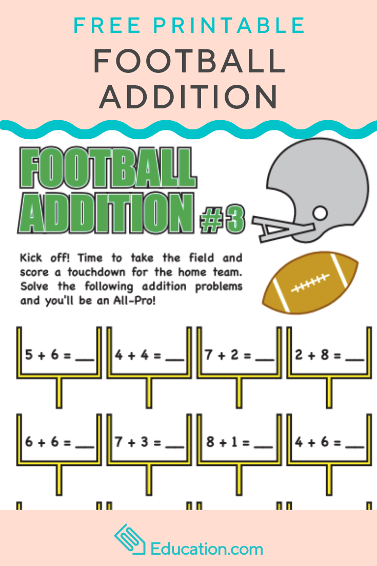 Football Addition 3 Worksheet Education Com Math Facts Worksheets Free Addition Practice