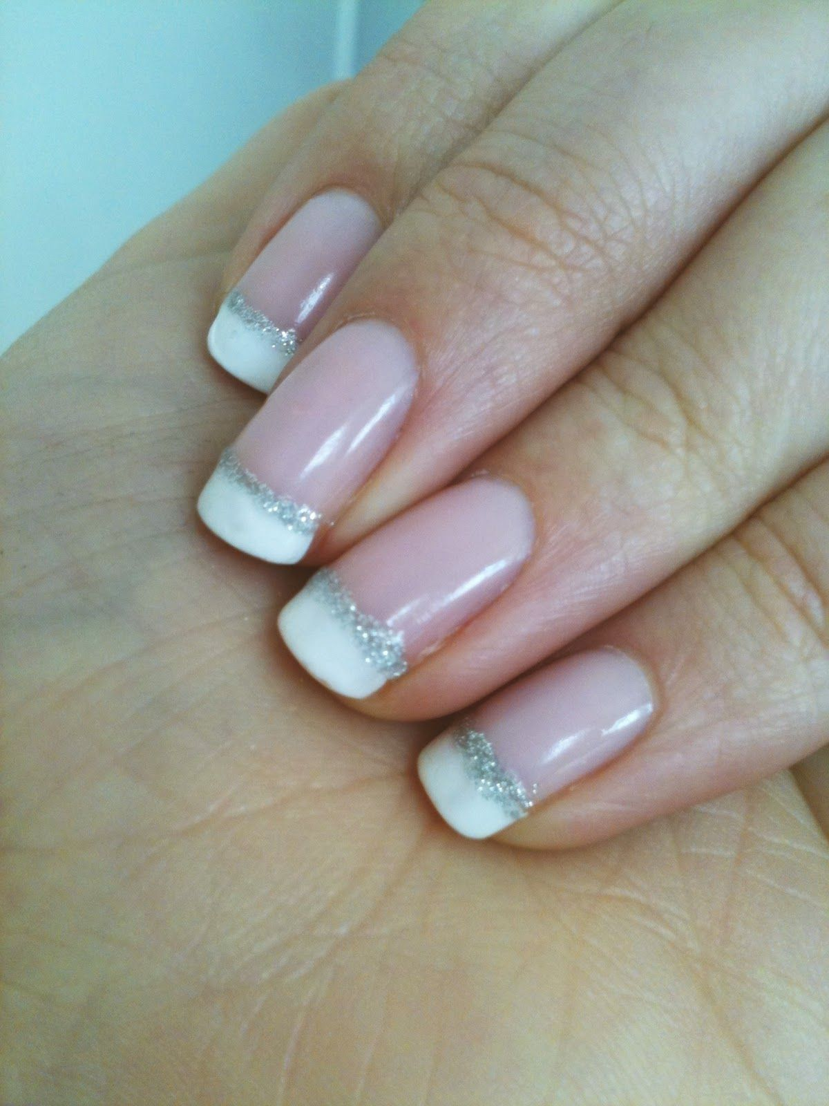 french manicure with a line of glitter pictures - Google Search | W ...