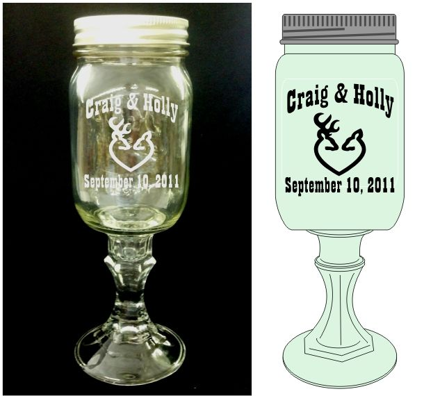 Redneck Hillbilly Wedding Gles With Browning Buck Deer Heart Personalized Mason Jars