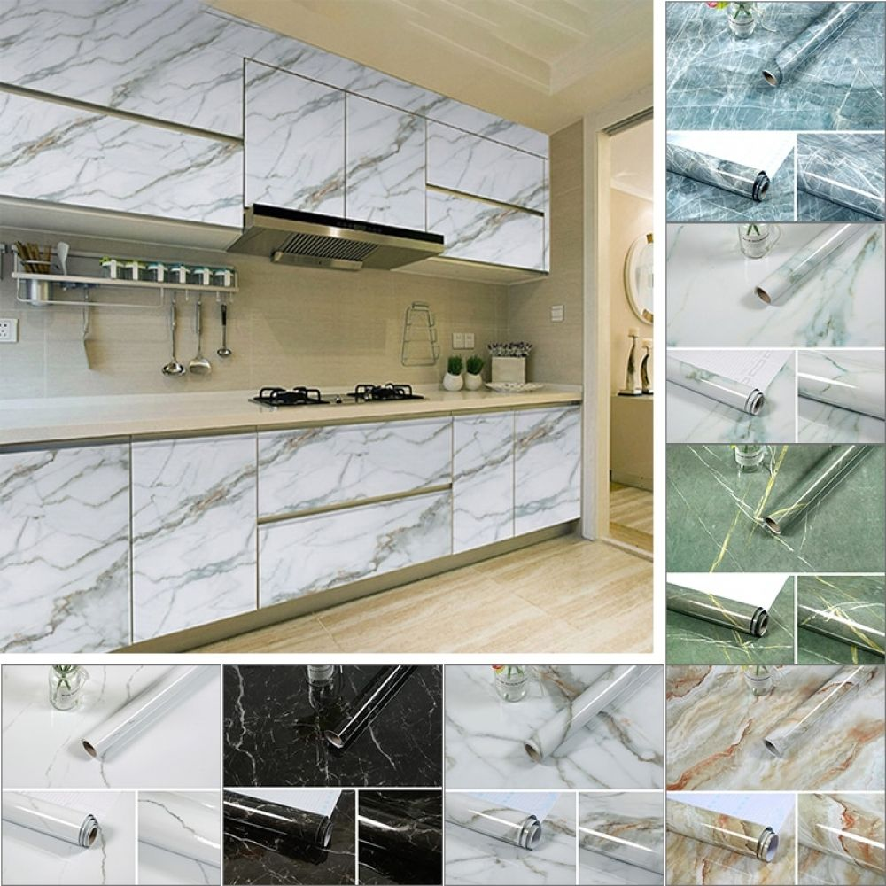 3m 5m 10m Kitchen Marble Contact Paper Pvc Wall Stickers Marble