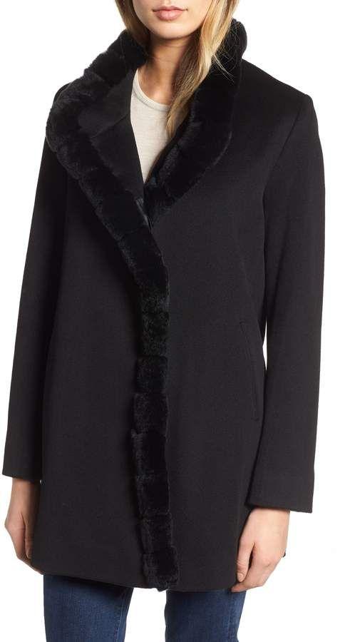 738041d0f6732 Fleurette Loro Piana Wool Car Coat with Genuine Rex Rabbit Fur Trim ...