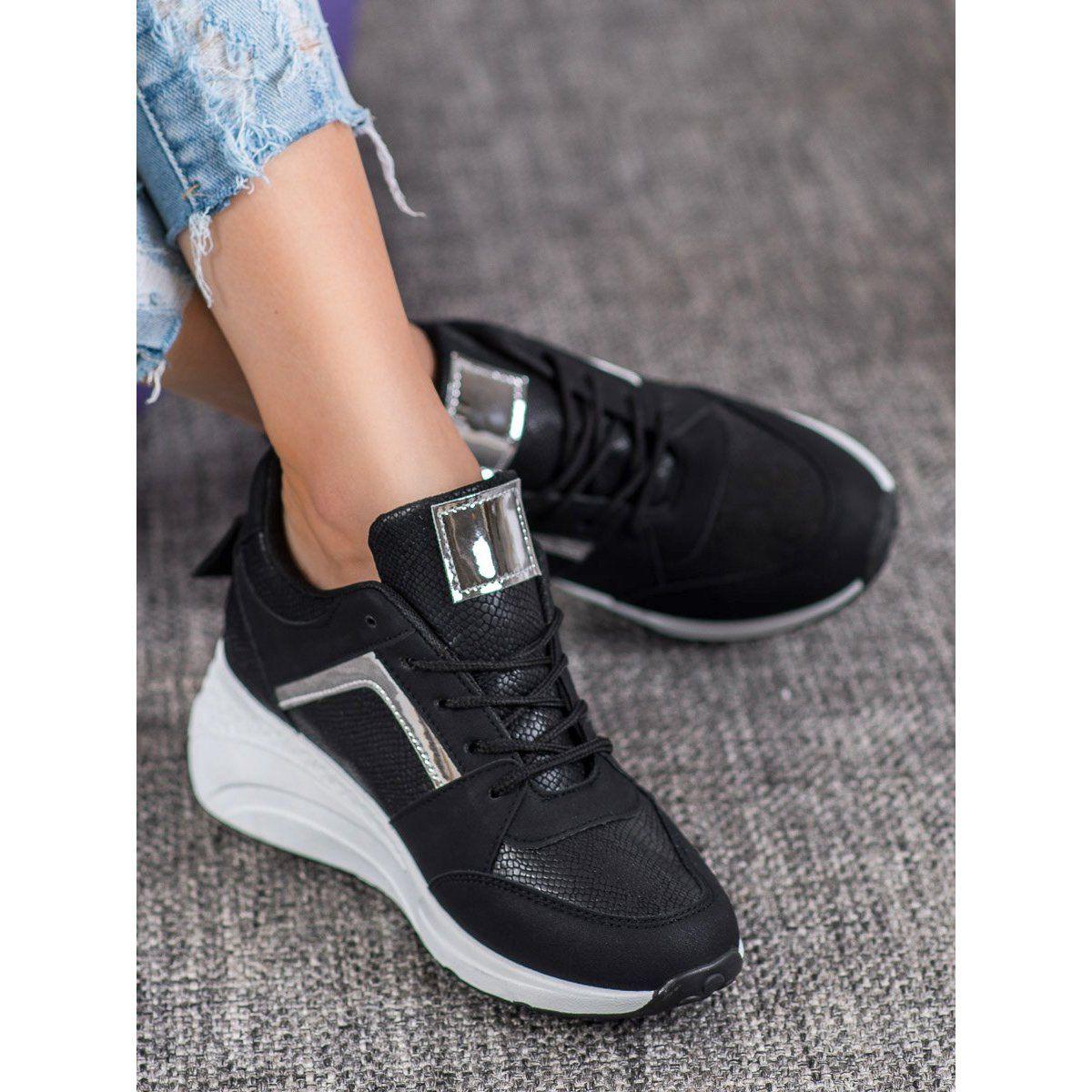 Shelovet Sneakersy Na Koturnie Czarne Wedge Sneaker Shoes Sneakers